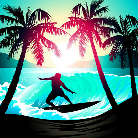 Male surfing at sunrise at a tropical beach .
