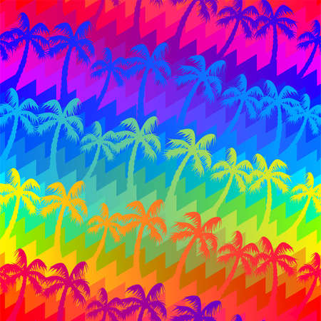 Tropical rainbow palm trees seamless pattern . Иллюстрация