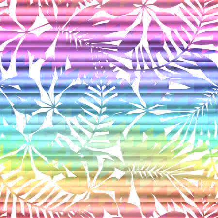 Tropical leaf chevron rainbow seamless pattern .