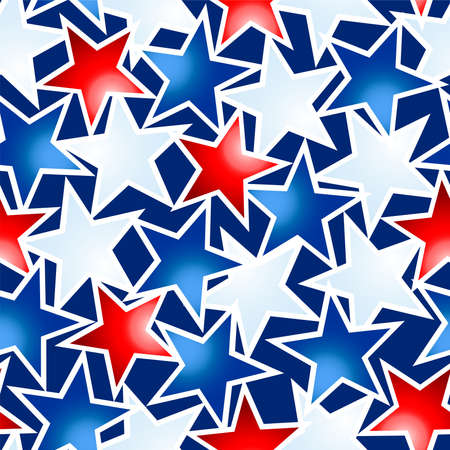 Red white and blue glowing stars seamless pattern . Иллюстрация