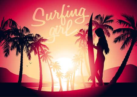 Surfing girl and sunrise at a tropical beach . Иллюстрация