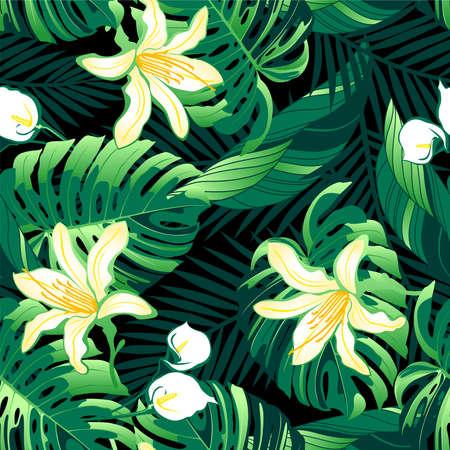 Tropical lush yellow flowers seamless pattern .