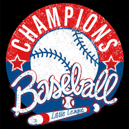 Baseball Champions league distressed emblem .