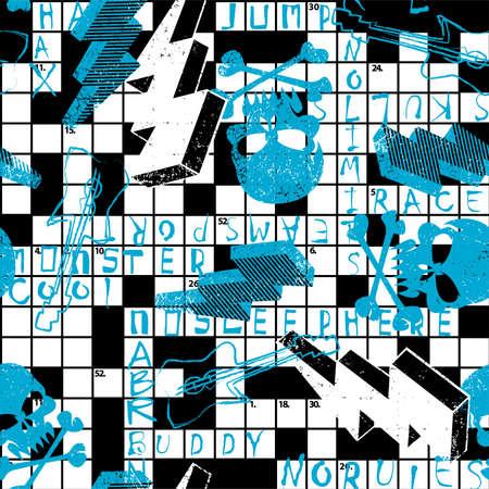 Kreuzworträtsel mit Schädel und Blitze. Vektorgrafik
