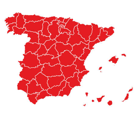 canary islands: hi detailed map of spain - red Illustration