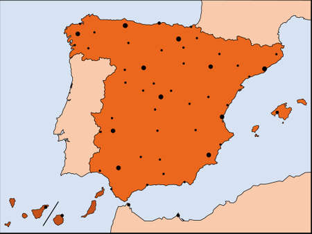 metropolis: detailed map of Spain with all borders and bigest cities Illustration