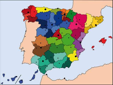 drapeau portugal: carte d�taill�e de l'Espagne, avec toutes les fronti�res et bigest villes Illustration