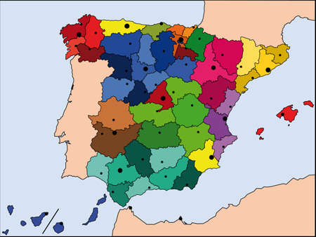 detailed map of Spain with all borders and bigest cities Illustration