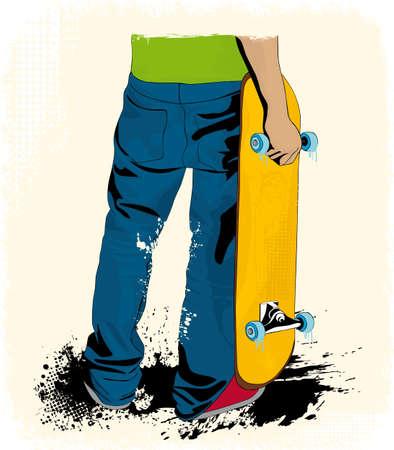 Grunge stile skateboard disposizione Archivio Fotografico - 11666662