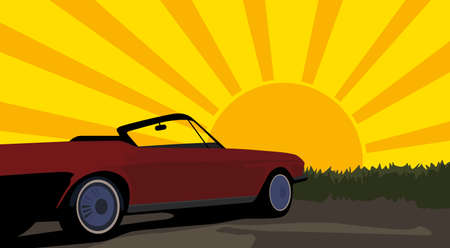 vector illustration of vintage car and sunset