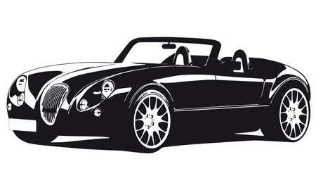 silhouette voiture: silhouette vieille voiture Illustration