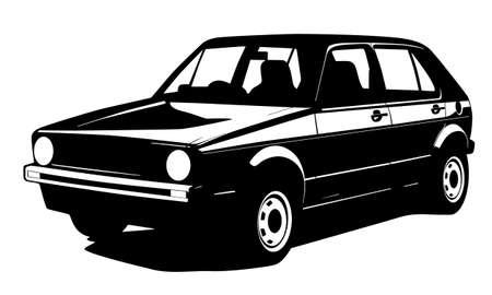 voiture ancienne: silhouette vieille voiture Illustration