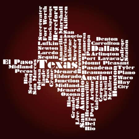 Mappa astratta di Texas State, Stati Uniti d'America Archivio Fotografico - 12075792