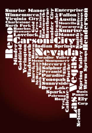 las: abstract map of Nevada state, USA