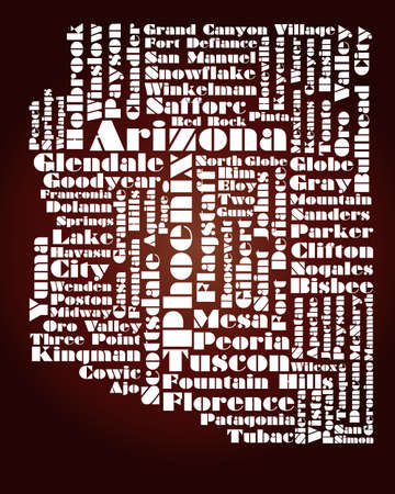 abstract map of Arizona state, USA Vector