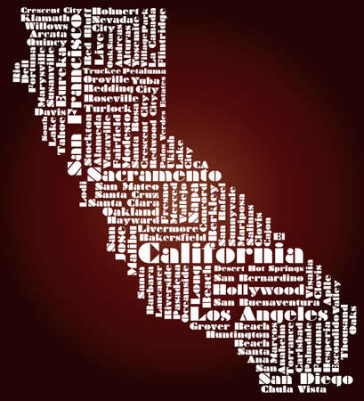 sacramento: abstract map of California state, USA