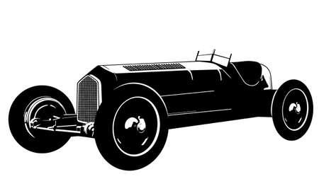 russian car: vintage race car  silhouette