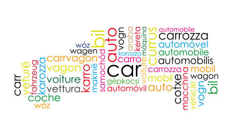 word cloud car silhouette Vector