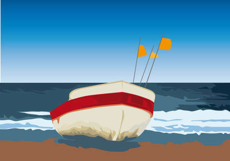 bollard: small fishing boat Illustration