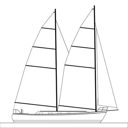 luxus: sailboat outlines Illustration