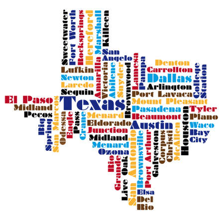 word cloud map of Texas state Vector