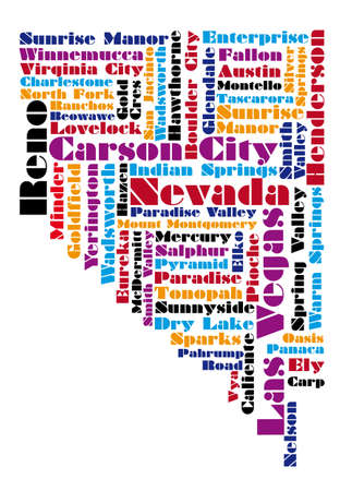 word cloud map of Nevada state Vector