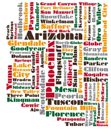 state of arizona: word cloud map of Arizona state Illustration