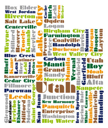 salt lake city: word cloud map of Utah state Illustration