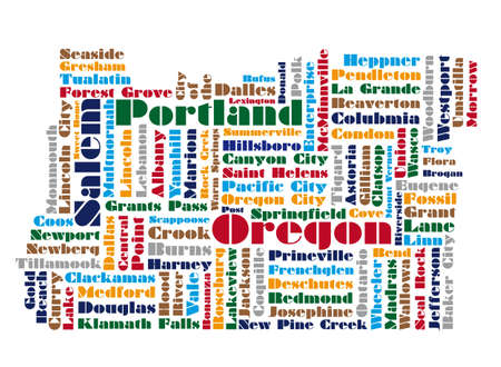 word cloud map of Oregon state Vector