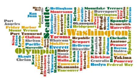 state boundary: word cloud map of Washington state Illustration