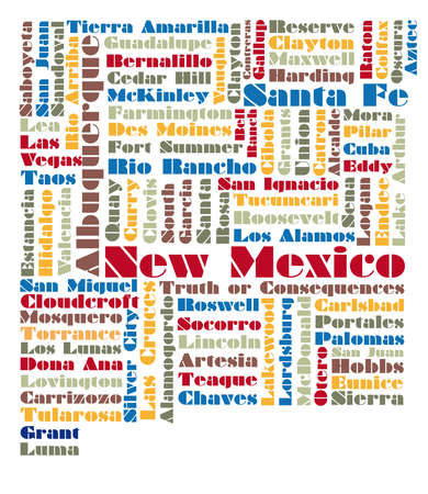 albuquerque: word cloud map of New Mexico state