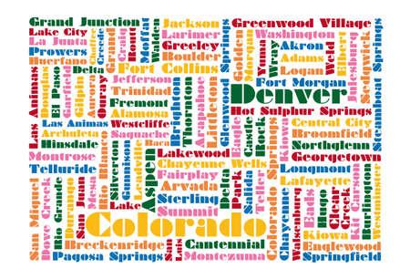 Денвер: Слово облако карта штата Колорадо Иллюстрация