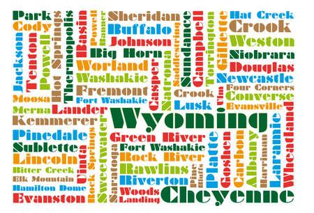 wyoming: word cloud map of Wyoming state