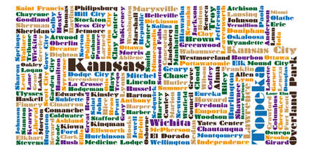 word cloud map of Kansas state Vector