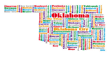 word cloud map of Oklahoma state Illustration