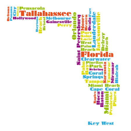 word cloud map of Florida state Illustration
