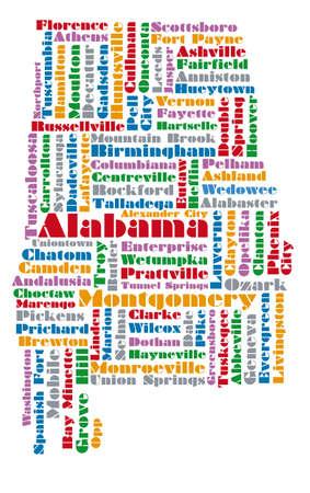 Nube de palabras mapa de estado de Alabama Ilustración de vector