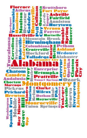 alabama: word cloud map of Alabama state