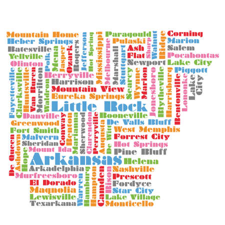 boundaries: word cloud map of Arkansas state