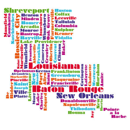 word cloud map of Louisiana state Vector