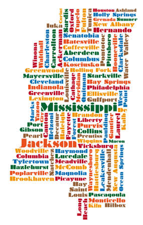 word cloud map of Mississippi state Vector