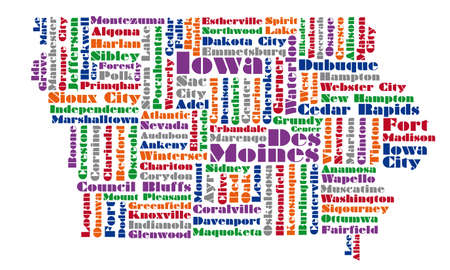 Word Cloud Map Of Iowa State Royalty Free Cliparts, Vectors, And ...