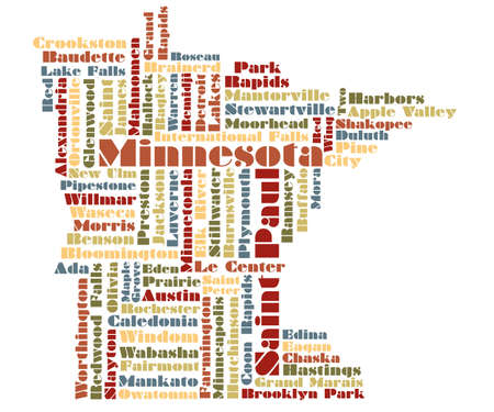 abstract word cloud map of Minnesota state Vector