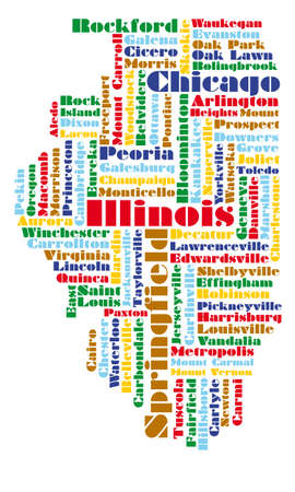 word cloud map of Illinois state, usa Illustration