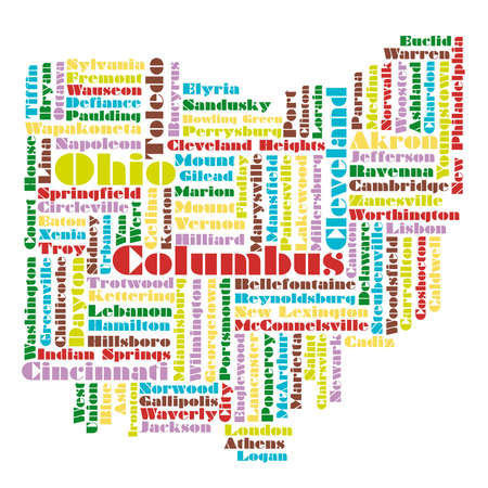 word cloud map of Ohio state, usa Vector
