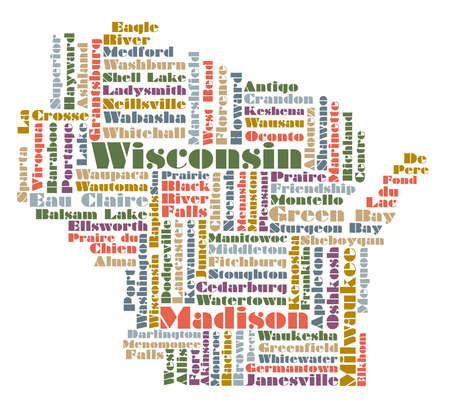wisconsin state: word cloud map of Wisconsin state, usa