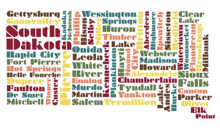 sioux: word cloud map of South Dakota state, usa