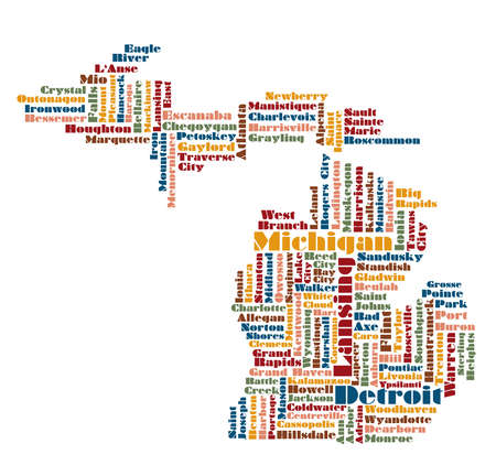 southwest: word cloud map of Michigan state, usa Illustration