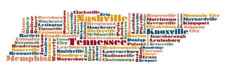 tennesse: Nube de palabras mapa de estado de Tennessee, EE.UU.