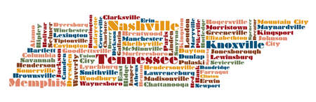 word cloud map of Tennessee state, usa Illustration